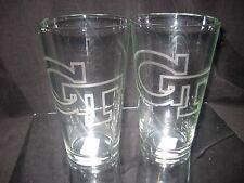 GEORGIA TECH YELLOWJACKETS 2 ETCHED LOGO 16 oz PINT GLASSES NEW