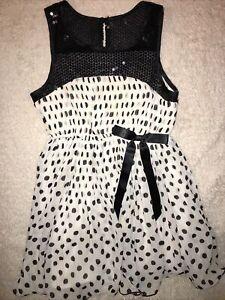 Girls Beautiful Sequin Top Black & White Polkadot size 8 Bonnie Jean Dress