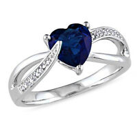 1.05 Ct Heart Shape Blue Sapphire And Diamond Engagement Ring 14k White Gold