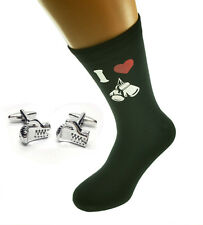 I Love Boxing Glove Image Printed on Black Mens Socks & Boxing Glove Cufflinks