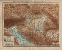 Landkarte map 1902: PHYSIKALISCHE KARTE VON ÖSTERREICH-UNGARN.