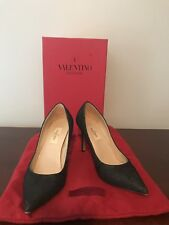 VALENTINO BLACK LEATHER LACE POINT TOE PUMPS SZ.37 7