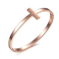 18K Rose Gold Plated Bracelet Women's Hinge Clasp G295