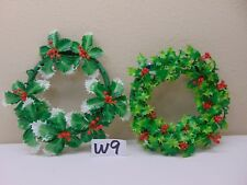 """2 VINTAGE CHRISTMAS ORNAMENT 8"""" MID-CENTURY PLASTIC WREATH WITH HOLLY BERRIES"""