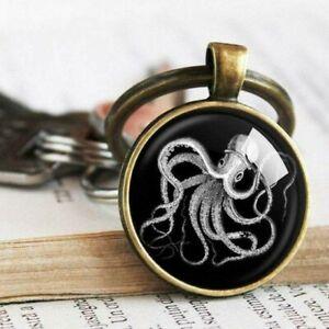 Vintage Octopus Keychain, Octopus Key Ring, Sea life Keyring, Nautical Jewelry