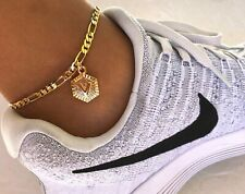 "Gold Tone Adjustable Anklet Ankle Bracelet New High Polish Initial Letter ""V"""
