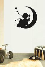 GIRL ON MOON Children's bedroom nursery vinyl sticker wall transfer home decor