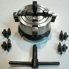 Shop Fox 4-Jaw x 2-3/4 Independent Chuck + Back Plate For Rotary Table D3754 New
