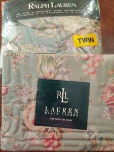 NEW RALPH LAUREN Charlotte Green Floral TWIN FLAT & DEEP FITTED Sheet Set