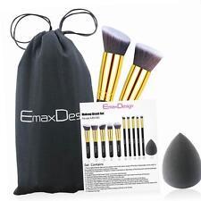 EmaxDesign 10 pc Makeup Brush Set + Sponge With Bag