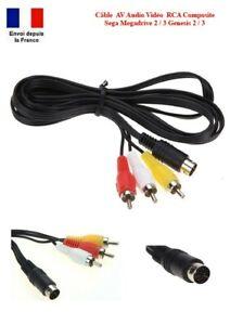 Cable AV Audio Vidéo RCA Prise Péritel TV Sega Mega Drive MD 2 / 3 Genesis 2 / 3