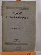 CHRONIK DER STADT WEIßENBURG I.B. VON DR. CHRISTIAN MEYER 1904