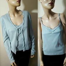 Hobbs 100% algodón azul Twinset 2 Piezas Cardigan Camisola Chaleco Top Talla 14 16