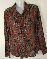Jones New York Signature women's blouse   size L long sleeve multicolored button