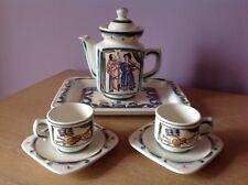 Vintage USSR ZIK Konakovo Art Pottery Ceramic Coffee Tea Set for Two Music Theme