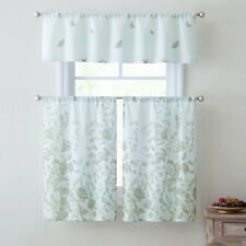 "3 Piece Window Curtain Set Floral Design, 1 Valance, 2 Tiers 36""L, Taupe & White"