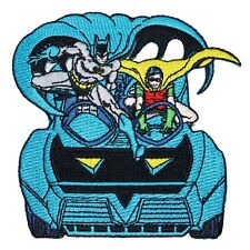 Batman & Robin Batmobile Patch DC Comics Apparel Superhero Car Iron-On Applique