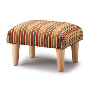 Biagi Upholstery & Design Terracotta Teal Striped Chenille Velvet Footstool