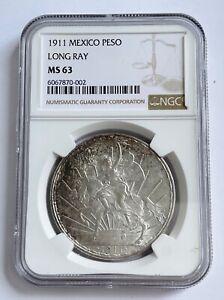 1911 Mexico Peso LONG RAY NGC MS 63;N215
