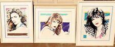 DENNIS MUKAI * 3 Signed Framed Ltd Ed Serigraphs HUGE Pieces Elizabeth Nan Diana