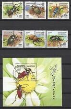 Insectes Cambodge série complète et bloc correspondant oblitérés (7)