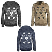 Girls Kids Knitted Hooded Glittered Heart New York Printed Jumper Top Age 2-8