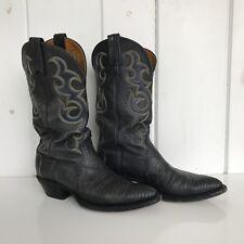 Nocona Navy Lizard Boots Woman's Size 6C Top Leather Navy Deertan Cowboy Western