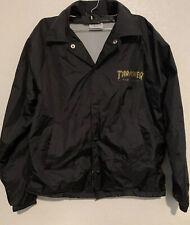 Thrasher Magazine Pentagram Black Gold Snap Up Windbreaker Jacket Men's Small