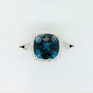 Natural London Blue Topaz and Diamond Ring in 18ct White Gold