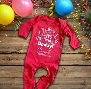 Custom Happy Birthday Daddy red long sleeve baby grow rompersuit