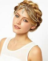 4Pcs Hot Pearl Gold Wedding Headdress Headband Head Band Crown Chain Headpiece