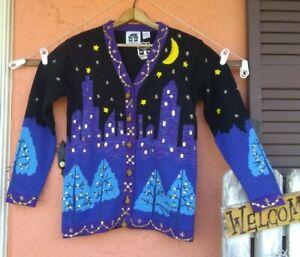 NWT Storybook Knits Handknit Cardigan Sweater Ramie Cotton Small