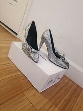 Isabel Marant Runway Silver Glitter Pumps Pointy Toe with Bowtie Size 37