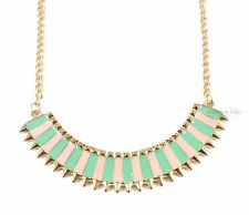 Spike Geometric Candy Pink Green Gold Necklace