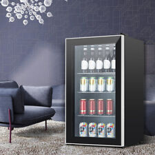 120-Can Beverage Cooler Refrigerator with Glass Door Mini Fridge for Home Office