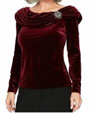 Alex Evenings Womens Burgundy Long Sleeve JEWEL Neck Evening Top Plus Size 2x