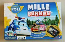 Jeu de société enfants Mille Bornes sur tapis avec petite voiture Robocar Poli