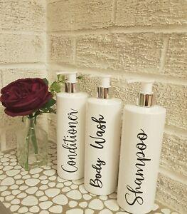 Set of 3 Reusable bathroom plastic pump bottles 500ml