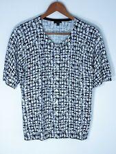 Talbots women's Large Black White geometric cotton blend short sleeve Cardigan