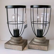Set of 2 Decorative Matte Black Metal Lamps battery...