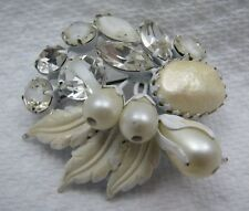 Vintage White Regency Faux Pearls Swirled Glass Rhinestone Brooch Pin