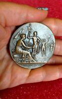 1890 Paris French Art Nouveau BRONZE medal Dubois /Military Shooting 50mm