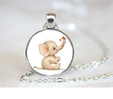 Elephant And Bird PENDANT NECKLACE Chain Glass Tibet Silver Jewellery