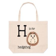 LETTERE H è per Hedgehog GRANDE BORSA CON MANICO da Spiaggia - Alfabeto animale