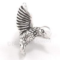HUMMINGBIRD Charm Pendant Garden Flower Bird STERLING SILVER 925 .925 3D