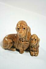 """Vintage Ceramic Brown Bloodhound Dog with Her Little Puppy Hound Dog, 4"""" Tall"""