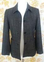 Viyella woman's black/white lined collared button up jacket size 8 uk - 34 eu