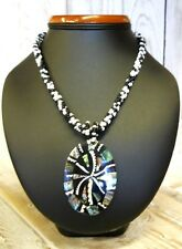 Nice Necklace Ethnic Molten Plastic with Natural Shells on Beaded Thread 30 cm