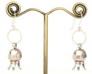 Petite Handmade Sterling Silver Pomegranate Fruit Earrings Jewish Judaica Charm