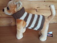 NEW  SMALL  8  INCH  HAND  KNITTED DOG COAT JUMPER TAUPE/ CREAM  CHIHUAHUA/TERRI